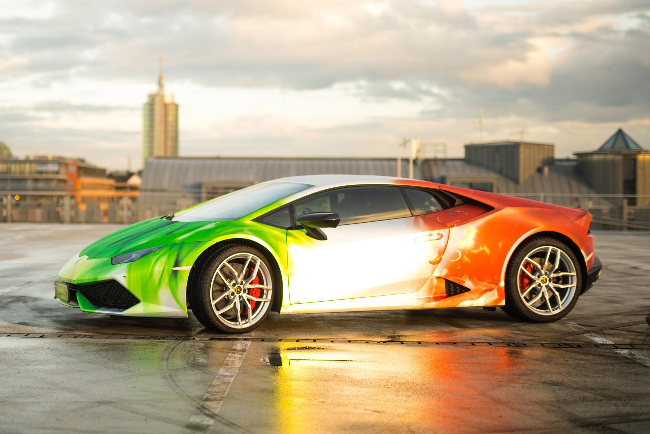 Lamborghini Bull Wrapped In Tricolor Flames Chrom Design