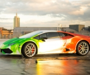 2016 Print Tech Lamborghini Huracan Bull Wrapped Tricolor Flames Chrom Design 1