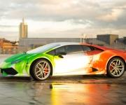 2016 Print Tech Lamborghini Huracan Bull Wrapped Tricolor Flames Chrom Design 1