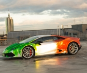 2016 Print Tech Lamborghini Huracan Bull Wrapped Tricolor Flames Chrom Design 3