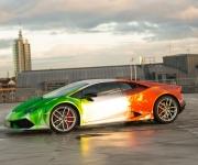 2016 Print Tech Lamborghini Huracan Bull Wrapped Tricolor Flames Chrom Design 3