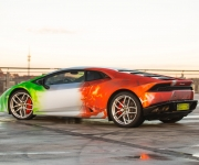 2016 Print Tech Lamborghini Huracan Bull Wrapped Tricolor Flames Chrom Design 5