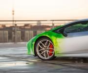 2016 Print Tech Lamborghini Huracan Bull Wrapped Tricolor Flames Chrom Design 6