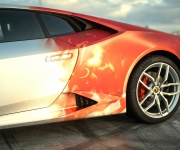 2016 Print Tech Lamborghini Huracan Bull Wrapped Tricolor Flames Chrom Design 7