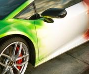 2016 Print Tech Lamborghini Huracan Bull Wrapped Tricolor Flames Chrom Design 8
