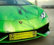 2016 Print Tech Lamborghini Huracan Bull Wrapped Tricolor Flames Chrom Design 14