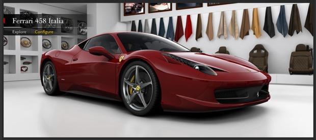 5fce92787cconfig Ferrari launches 458 Italia configurator
