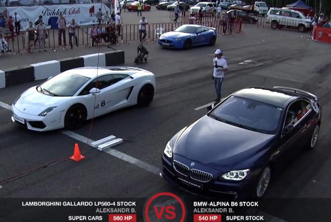 Lamborghini Gallardo LP560-4 vs Porsche 911 Turbo and Alpina B6
