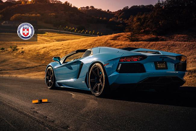 Lamborghini Aventador with HRE RS101 in Satin Black Rear Angle