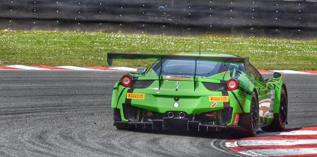 The Rinaldi Ferrari on track at Zolder